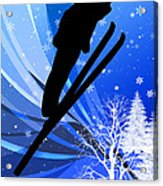 Ski Jumping In The Snow Acrylic Print