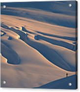 Skier And Crevasse Patterns At Sunset Acrylic Print