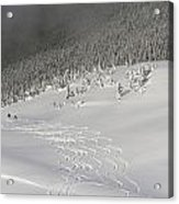 Skiers At The Base Of A Mountain Acrylic Print