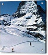 Skiers At The Matterhorn Acrylic Print