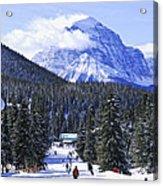 Skiing In Mountains Acrylic Print by Elena Elisseeva