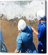 Skipping Stones In The Surf Acrylic Print by MB Matthews