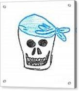 Skull In Blue Bandanna Acrylic Print by Jeannie Atwater Jordan Allen