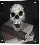 Skull On Books Acrylic Print by Joana Kruse