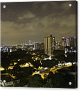 Skyline Of A Part Of Singapore At Night Acrylic Print