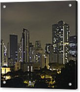 Skyline Of Singapore At Night As Seen From An Apartment Complex Acrylic Print