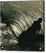 Slalom Waterskier Silhouette Acrylic Print