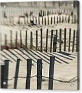 Slats Of Wooden Fence Throwing Shadows Acrylic Print
