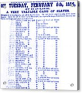 Slave Auction Notice Acrylic Print
