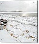 Small Boat Sits On Ice Chuncks In Wellfleet On Cape Cod In Winte Acrylic Print