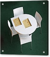 Small Cafe Table With Cookbooks Acrylic Print