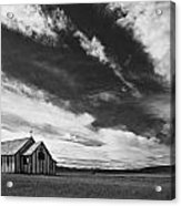 Small Country Church In Grass Field In Acrylic Print