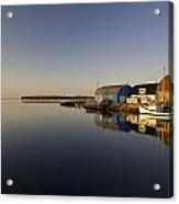 Small Harbour And Fishing Boat, Stanley Acrylic Print