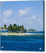 Small Palm Tree Covered Islands In Blue Acrylic Print