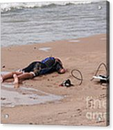 Small Surfer Lying On Beach Acrylic Print by Christopher Purcell