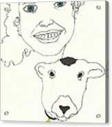 Smiling Child With Lamb Acrylic Print