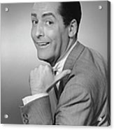 Smiling Man Pointing In Studio, (b&w), Portrait Acrylic Print by George Marks