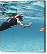 Snorkeler Photographing Green Turtle Acrylic Print