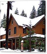 Snow Atop The Inn At Longmire Acrylic Print by Kathy  White