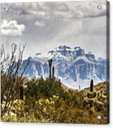 Snow Atop The Superstitions Acrylic Print