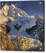 Snow Blowing From Summit Ridge Of Mount Acrylic Print