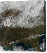 Snow Cover Stretching From Northeastern Acrylic Print by Stocktrek Images