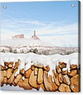 Snow Covered Rock Wall Acrylic Print