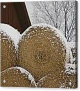 Snow Dusts Rolls Of Hay Acrylic Print