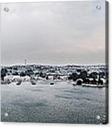 snow in port mahon - A very rare image of a mediterranean villa sided to sea covered of white Acrylic Print