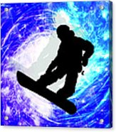 Snowboarder In Whiteout Acrylic Print