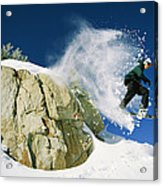 Snowboarder Jumping Off A Big Rock Acrylic Print