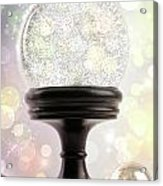 Snowglobe With Ornaments Against Colored Background Acrylic Print
