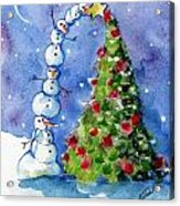 Snowman Christmas Tree Acrylic Print