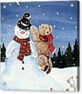 Snowman In Top Hat Acrylic Print by Gordon Lavender