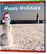 Snowman With Santa Hat Acrylic Print