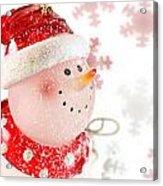 Snowman With Snowflakes  Acrylic Print