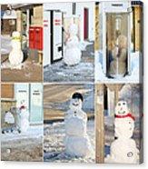 Snowmen Antics. Acrylic Print by Kelly Nelson