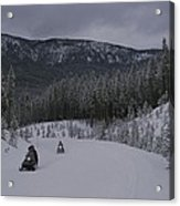Snowmobilers In Yellowstone National Acrylic Print by Raymond Gehman