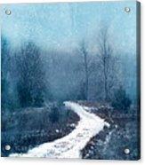 Snowy Foggy Rural Path Acrylic Print