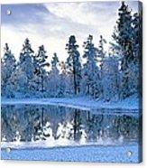 Snowy Lake Acrylic Print by David Nunuk