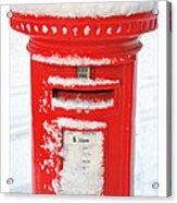 Snowy Pillar Box Acrylic Print