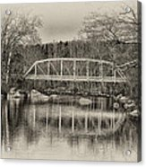 Snyder Road Bridge At Green Lane Park In Sepia Acrylic Print