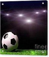 Soccer Ball On Grass Against Black Acrylic Print by Sandra Cunningham
