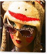 Sock Monkey Zebra Glasses Acrylic Print