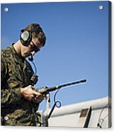 Soldier Conducts A Communications Check Acrylic Print
