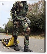 Soldier Drags A Simulated Attack Victim Acrylic Print