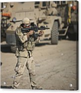 Soldier Fires A M4 Carbine Acrylic Print