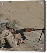 Soldier Fires A Russian Rpk Kalashnikov Acrylic Print