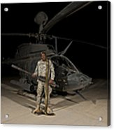 Soldier Holding A .50 Caliber Machine Acrylic Print