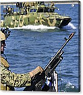 Soldier Mans A M240g Machine Gun While Acrylic Print